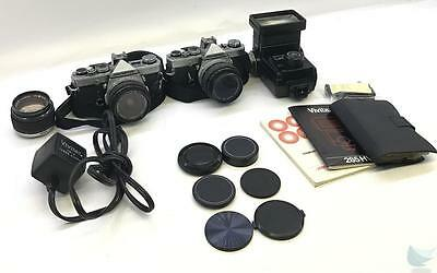Lot of 2 Olympus OM1 35mm Film Cameras & Various Accessories FOR PARTS