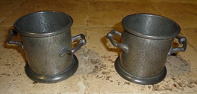 A Pair Of Antique Pewter Pots With Handles Argent Pewter 782 Rare Collectable