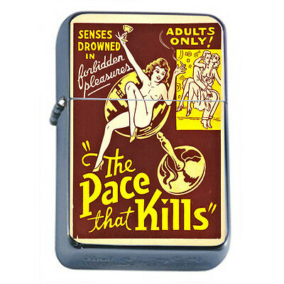 Vintage Poster D300 Windproof Dual Flame Torch Lighter Refillable The Pace Kills