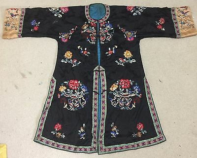 Antique 19thC Rare Chinese Qing Dynasty Embroidered Silk Lady Robe NEEDLEWORK