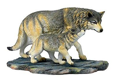 "11"" Wolf & Cub Nature Wildlife Animal Statue Collectible Wild Sculpture Wolves"