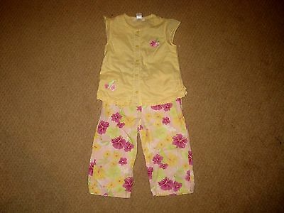 JANIE & JACK Toddler GIRLS Yellow FLORAL Summer OUTFIT - Shirt/Pants - Sz 3T ec