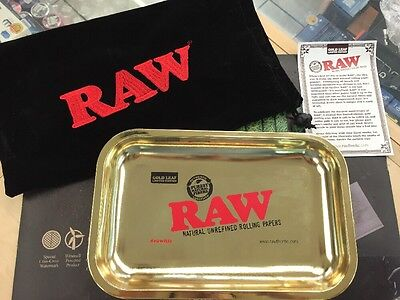 Raw 24kt Gold Rolling Tray Limited Edition Brand New Raw Rolling Papers 24k