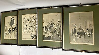 SET OF4 ORIGINAL FRAMED PICTURE PRINTS H M Bateman