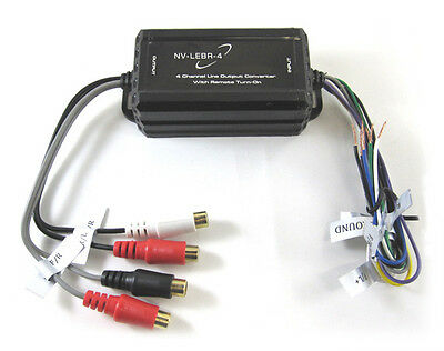 Line Out Converter-Hi to Low level (RCA) Output 4 channel with Remote Turn On