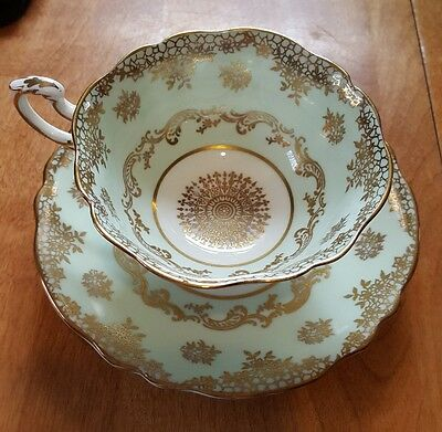 Paragon teacup and saucer mint green and gold vintage beauty