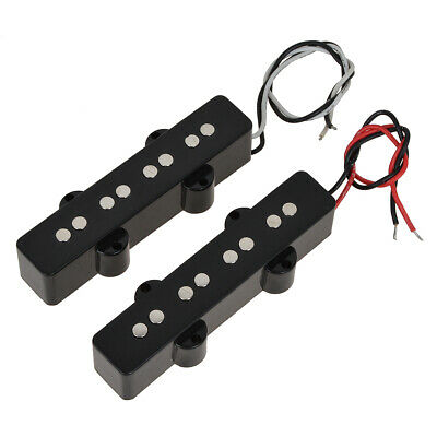 Pair of 4 String Jazz Bass Pickups Bridge Neck Pickup Set Black Open Style