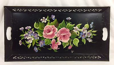 "Large Black Metal Hand Painted Roses Floral Toleware Tole Tray 22.50"" x 11.75"""
