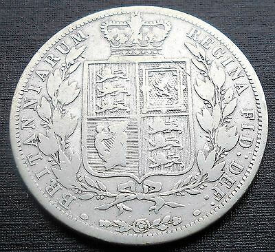 .925 Silver 1884 Great Britain 1/2 Crown KM#756 Young Queen Victoria Circ # 708