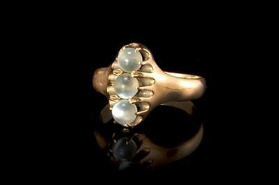 Antique Victorian Moonstone Beads 14K Gold Ring  (051417099)