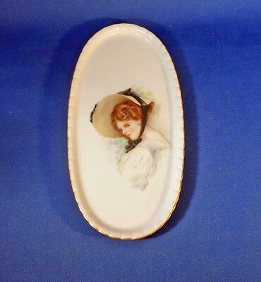 """Portrait Plate Oval 4 1/4"""" by 8 1/2"""" Porcelain Signed"""