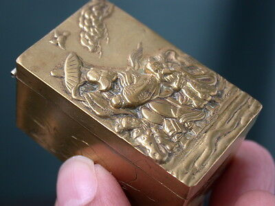 Antique Art Deco Gold T Bronze Repousee Chinesse Figure Jewelry Secret Pill Box