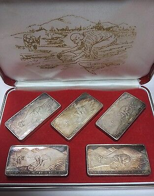 RARE!! Set of Five 3oz Old West Silver Mining Company Bars 1970 By Foster Inc.