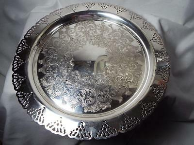 """Vintage Large Silverplated Reticulated & Engraved Serving Tray 12-1/2"""""""