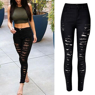 Women High Waist Denim Skinny ripped Jeans Stretch Pants Slim Trousers Black