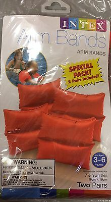 """Swimming Arm Bands  For Ages 3-6 Two Pair Per Pack 7 1/2"""" X 7 1/2""""--Orange (2)"""