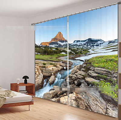 3D Flower Creek Blockout Photo Curtain Printing Curtains Drapes Fabric Window CA