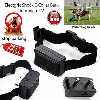 New Electric Shock Anti Bark Dog Collar Stop Barking Pet Training Control Aid UK