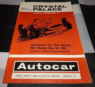 1966 Whit Monday Crystal Palace International Race Meeting Programme F2 F3 Rindt
