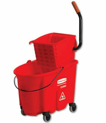 Mop Bucket Side-Press Wringer Cleaning Supplies Non Marking Wheels Red 35 Qt.