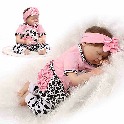 """22"""" Silicone Lifelike Reborn Baby Doll Vinyl Real Gentle Touch Newborn Doll Gift"""