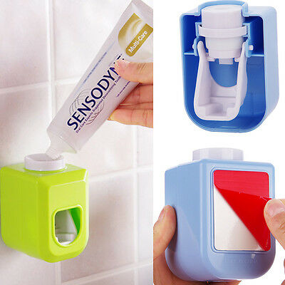 Home Auto Toothpaste Dispenser Squeezer Brush Holder Hole Set Wall Mount Trendy