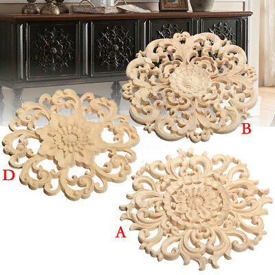 15CM Wood Carved Long Round Onlay Applique Unpainted Flower Wall Door Decoration