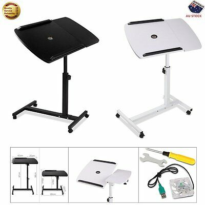 Rotating Mobile Laptop Adjustable Desk w/ USB Cooler Stand Computer Tray Table