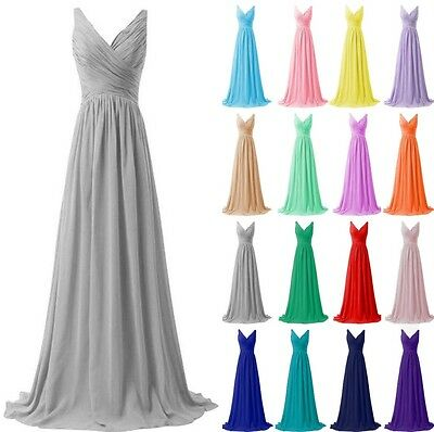 Long Formal Chiffon Prom Gown Evening Party Ball Bridesmaid Dresses Size 6-20