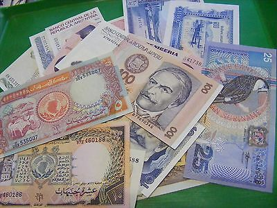 Lot of 34 uncirculated World Banknotes, all diff..LESS COMMON..some more SCARCE.