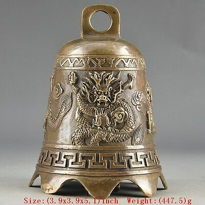 Prayer Handwork Hammered Chinese Brass Old Dragon Embossment Bell Decor