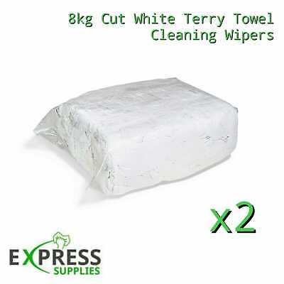 2 x 8KG WHITE TERRY TOWELLING CLEANING RAGS / WIPERS PRESS PACKED BAG