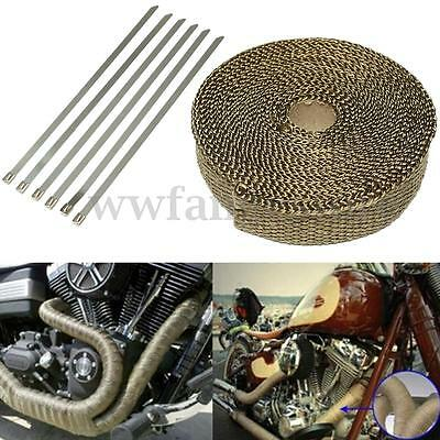 7.5M Titanium Exhaust Heat Wrap Tape Turbo Roll +6 Ties Motor Car 10.8x2.5CM