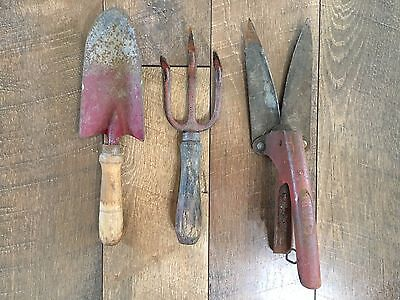 Vintage Antique Garden Hand Tool Lot Primitive Red Clippers Trowel Rake