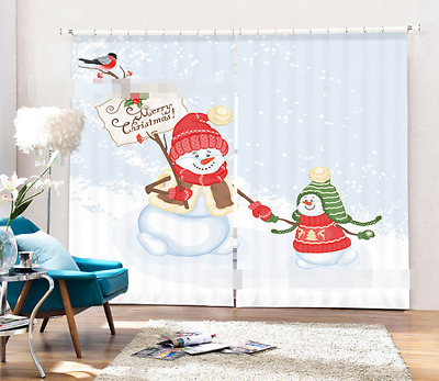 3D Red Snowman Blockout Photo Curtain Printing Curtains Drapes Fabric Window CA