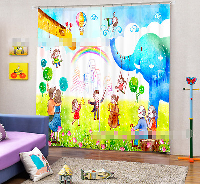 3D Folk Cartoon Blockout Photo Curtain Printing Curtains Drapes Fabric Window CA