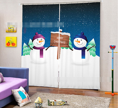 3D Snowman Land Blockout Photo Curtain Printing Curtains Drapes Fabric Window CA