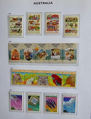 Australia Collection Unmounted Mint 1987 2 strips of 5, 8 individual stamps