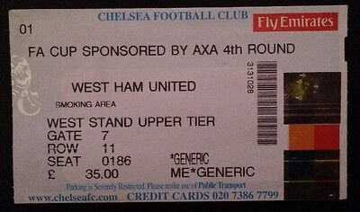 Chelsea FC v West Ham United / Utd / U Ticket Soccer Football FA Cup 2001 2002