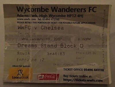 Wycombe v Chelsea FC Ticket - Soccer / Football League Cup Semi Final 2006 2007