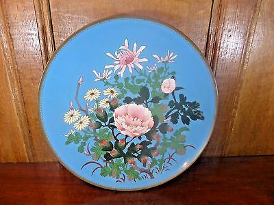"EXCELLENT ANTIQUE Japanese CLOISONNE MEIJI large FLORAL CHARGER - 12"" - A"
