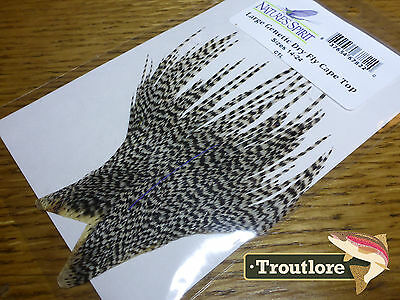 Nature's Spirit Grizzly Genetic Dry Fly Hackle Cape Top - New Whiting Feathers