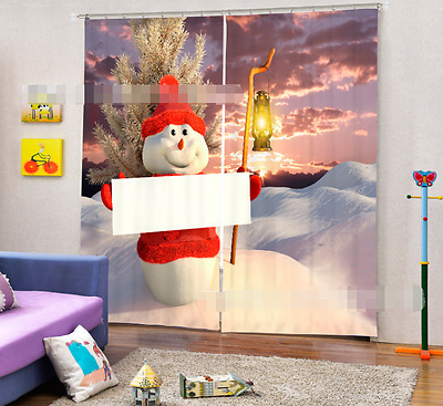 3D Snowman Hat 1Blockout Photo Curtain Printing Curtains Drapes Fabric Window CA