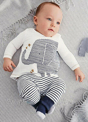 Baby Kids Toddler Boy Girl Elephant Tops T-shirt Stripe Long Pants Set Outfits