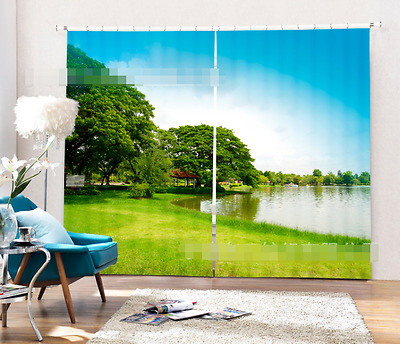3D Grass River 8Blockout Photo Curtain Printing Curtains Drapes Fabric Window CA