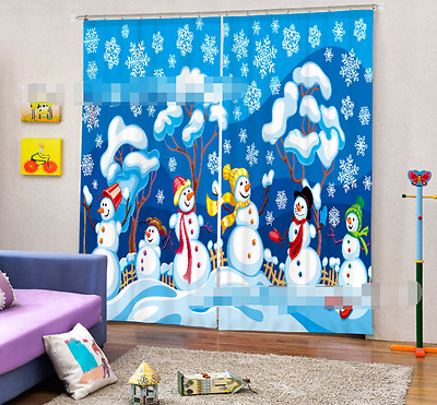 3D Many Snowman Blockout Photo Curtain Printing Curtains Drapes Fabric Window CA