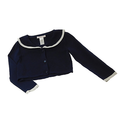 EUC Janie and Jack 3T Girl Spring 100% Cotton Navy Blue Long Sleeve Cardigan