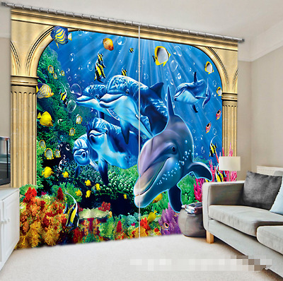 3D Dolphin 60 Blockout Photo Curtain Printing Curtains Drapes Fabric Window CA