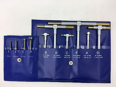 """6Pc Tin Telescoping Bore Hole Gage+4 Small Hole Gage Full Ball Type .125 - .5"""""""