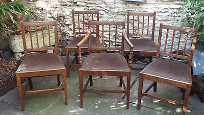 Set of 5 Georgian Oak Country Dining Chairs